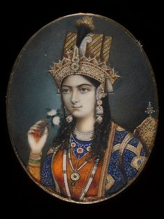 Portrait  of Mumtaz Mahal (Arjumand Banu Begum). She was the favourite wife of the Mughal Emperor Shah Jahan. She died shortly after giving birth to  her fourteenth child in 1631. The following year the emperor began work on the mausoleum that would house her body. The result was the  world-famous Taj Mahal.