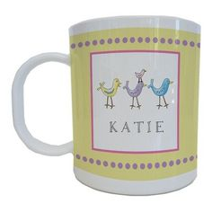Kids Tabletop Mug Design: For The Birds   - Click image twice for more info - See a larger selection of baby solid feeding at http://zbabybaby.com/category/baby-categories/baby-feeding/baby-solid-feeding/  - gift ideas, baby , baby shower gift ideas, toddler  « zBabyBaby.com
