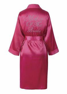 Pink Bridesmaid Satin Rhinestone Bathrobe Wedding Day Personalised Honeymoon Dressing Gown by CrystalsRus Rosa Satin, Pink Satin, Modest Dresses, Dresses For Work, Bride Dresses, Bridesmaid Robes, Bridesmaid Jewelry, Honeymoon Dress, Kimono Dressing Gown