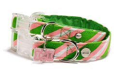 Old School Repp Collar, Green/Pink