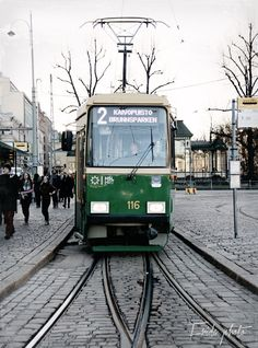Helsinki, Finland,  - Visited in 2005 -   Tram on street of the Esplanade, near Capelli Restaurant