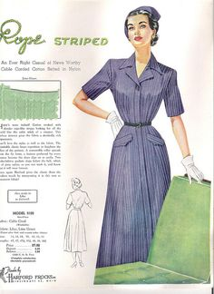 Rope stripes add visual interest to this classic 1950s day dress