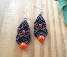 Carnelian macrame earrings macrame jewelry by SelinofosArt on Etsy