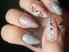 Coral, Grey & Swarovskis - Nail Art Gallery