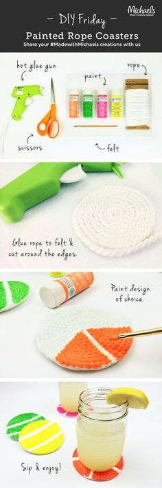 Add a nautical touch to your next summer party with our #DIYFriday Painted Rope Coasters! Make in a few simple steps! Tip: tape lines before painting to keep them crisp.