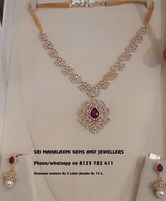 Diamond Necklace Very light IGI certified VVS EF Diamonds necklace Rs 3 lakhs Plus Jhumke Rs 75 k. Visit for best designs at wholesale prices on full variety. Contact no 8125 782 411 18 March 2018 Dimond Necklace, Real Diamond Necklace, Diamond Jewelry, Royal Jewelry, Jewellery Earrings, Diamond Bracelets, Stone Necklace, Diamond Pendant, Jewelery