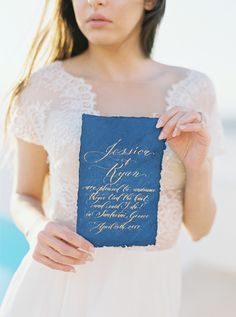With its blue, gold, and white color palette inspired by the natural landscape and architecture of Santorini, every image is insanely gorgeous. Blue Crush, Santorini, Rsvp, Crushes, Wedding Invitations, Bridal, Wedding Dresses, Invitation Ideas, Photography