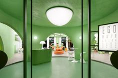 Beijing-based IS Architecture and Design has created a hair salon and cosmetic spa in Beijing with avocado-green interiors informed by space-age design. Green Colour Palette, Green Colors, Model House Kits, Velvet Curtains, Shape And Form, Space Age, Create Space, Organic Shapes, Model Homes