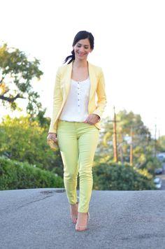lime jeans yellow blazer