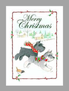 Schnauzer Christmas Cards Box of 16 Cards with 16 от Judzart