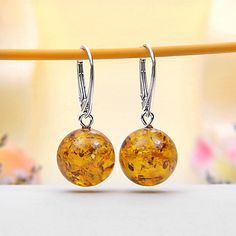 Baltic Amber Leverback Earrings