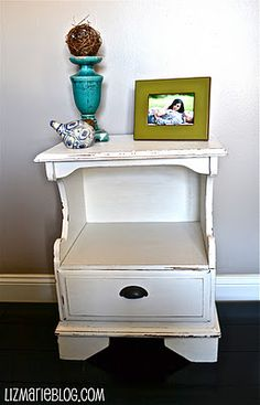 Shabby end table using Dove White by valspar paint. White Painted Furniture, Diy Furniture, Coffee Tables, End Tables, Valspar Paint, Nightstands, Furniture Inspiration, White Paints, Bedside