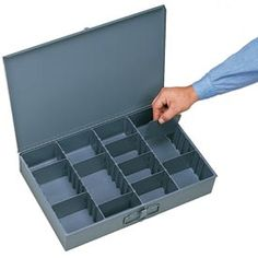 Bins, Totes & Containers | Boxes-Compartment | Adjustable Compartment Small Steel Scoop Storage Box - Pkg Qty 6 | B481930 - GlobalIndustrial.com