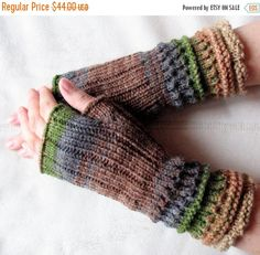 Brown Fingerless Gloves Knit Gloves Winter Gloves by Initasworks