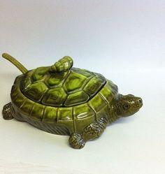 Turtle Vegetable Dish / Turtle Bowl / Ceramic Turtle / Vegetable Bowl / Unique Dish / Green Turtle / Vintage Turtle