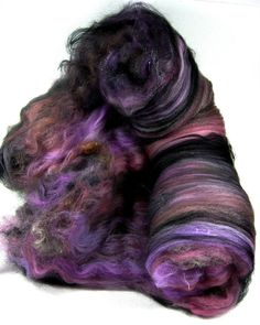 Midnight Mauves Wild Card Bling Batt for Spinning and by yarnwench, $23.00