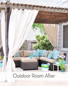 Add curtains to your deck or patio for a little privacy. | 43 Insanely Cool Remodeling Ideas For Your Home