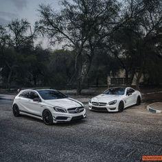 Lightening up any grey day. The @mercedesamg fleet. Photo shot by @themaverique.   #SL63AMG #A45AMG #AMG #MercedesAMG #MercedesBenz #carphotography #cardesign #HighPerformance #DrivingPerformance #Sportscars #whitecars #doubleparking #mbcar