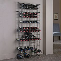 "Black Tie Grid with 3 Magnum Rows - Wine Enthusiast $99 67 1/3""H x 29""W x 7 1/3""D 138 bottles"