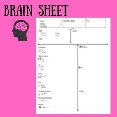 Nurse Brain Sheet, Med Surg Nursing, Bar Chart, Digital, Bar Graphs