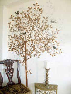 Tree Stencil FREE birds stencil Large Tree by ElegantStencils Tree Stencil For Wall, Bird Stencil, Wall Stencil Patterns, Stencil Painting On Walls, Damask Stencil, Stencil Diy, Tree Wall, Wall Stenciling, Damask Decor
