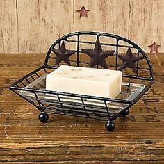 New Primitive Country Farmhouse Bathroom Kitchen BLACK STAR SOAP DISH Holder