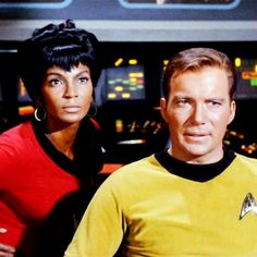 """Nichelle in a scene with co-star William Shatner from the TV show """"Star Trek."""""""