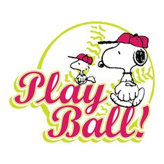 Snoopy and Woodstock play baseball
