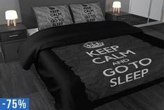 De 'Keep Calm' leus zie je geregeld in allerlei variaties voorbij komen op diverse social media. Deze variatie, met de opdruk 'Keep calm and go to sleep', is zeer toepasselijk in je slaapkamer! #dekbedovertrek #origineel #stoer #trend #ademend #ventilerend