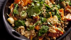This vegetarian braise is great for meat-free Mondays. Pearl couscous is larger than regular couscous and adds more texture. Blue Zones Recipes, Zone Recipes, Cooking Recipes, Beans Recipes, Easy Cooking, Vegetarian Recipes, Healthy Recipes, Vegetarian Dish, Chickpea Recipes