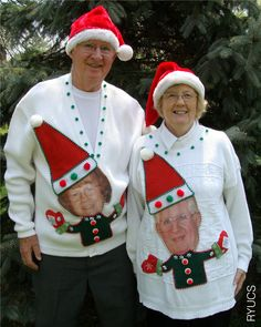 People+wearing+ugly+sweaters | Grandparents wearing funny custom-made ugly Christmas sweaters are ...