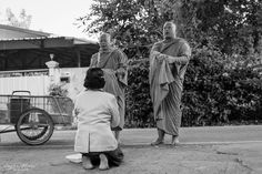Monk Offering Morning ( Luang Nuea, Thailand ) by Michel ANGELA