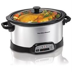 Hamilton Beach Programmable 5 Quart Slow Cooker (33453) - 340 W - 1.25 gal - Silver, Black