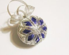"Christmas Ball ""Blue Light"", Christmas Ornament, silver white blue ribbon stars decor christmas tree"
