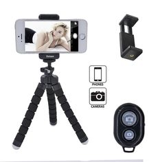 Daisen tech Octopus Style Portable and adjustable Tripod Stand Holder for iPhone, Cellphone ,Camera with Universal Clip and Remote (Black)