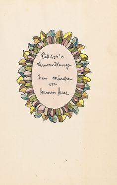 Hermann Hesse - Piktor's Verwandlungen (Manuskript mit Aquarellen). 1930.