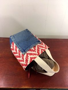 Project Bag, Bucket style, Red Geometric Pattern, from Upcycled jeans & Upholstery fabric samples by SavedbyKate on Etsy