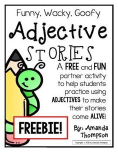 Adjectives: Partner Activity- Fill in Stories- *FREEBIE*