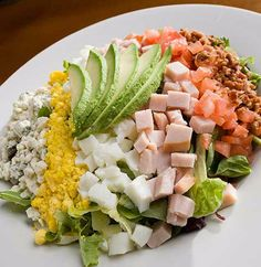 Cobb Salad with advocado - The Glen Club Wedding Appetizers, Cobb Salad, Wedding Reception, Food Porn, Club, Eat, Marriage Reception, Wedding Reception Ideas, Receptions