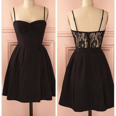 Spaghetti strap black simple lace cheap sexy homecoming prom dress,BD0067