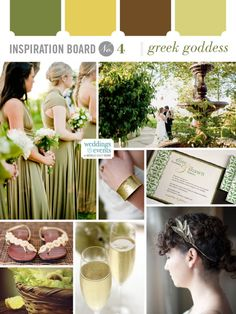 Gold, brown and greens are combined for a palette that is rich in Greek traditions and would be a perfect fit for a classical wedding.