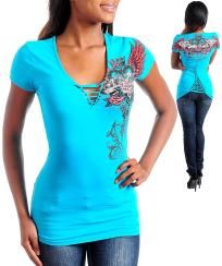 Blue Graphic Knit Top with Unique Lace-up Back & Front Neckline Accent NEW - Size 2X FREE SHIP