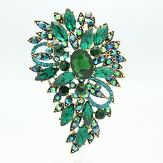 Pretty 8.5cm Alloy and Rhinetone Floral Brooch Pin (More Color) – USD $ 5.99