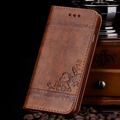 Alta calidad del tirón del cuero caja de la carpeta para samsung galaxy s5 s6 s7 borde iphone 5s 6 6 s de cuero de la pu floral caso bolsos del teléfono móvil