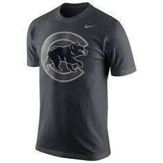 Nike Chicago Cubs Carbon Fiber Pattern Logo T-Shirt - Anthracite