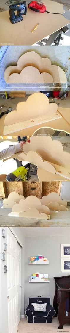 Estante en forma de nube - howtonestforless.com - DIY Cloud Bookshelf