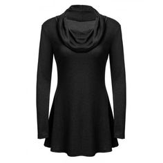 Women Fashion Cowl Neck Long Sleeve Solid A-Line Tunic Top