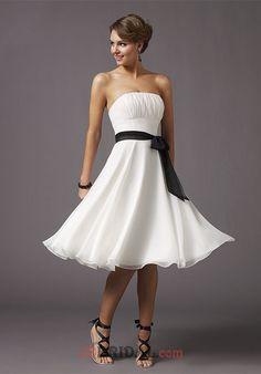 789fd3b9a9 Cheap Best-selling White Short Strapless Shirred Bodice with Black Sash at  Waist Chiffon Tea Length Mori Lee 735 Prom Dresses Graduation  Dresses Holiday ...