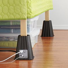 "7-Inch Power Bed Riser (Set of 4) ($29.99) These Power Bed Risers also help raise beds 7"" off the floor to increase under-the-bed storage space. One bed riser features twin 110-volt, 15-amp grounded power outlets, as well as twin USB 5-volt DC outlets with charging light for convenient charging of handheld devices. 6' L cord plugs into the nearest outlet."