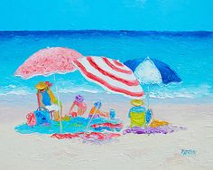 oil painting beach people - Google Search